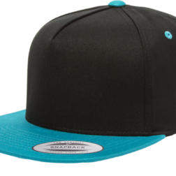 YUPOONG CLASSIC 5 PANEL MODEL # 6007T - BLACK AQUA