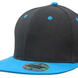 Youth Size Black/Cyan Premium American Twill with Snap Back